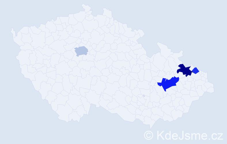 Příjmení: 'Derich', počet výskytů 10 v celé ČR