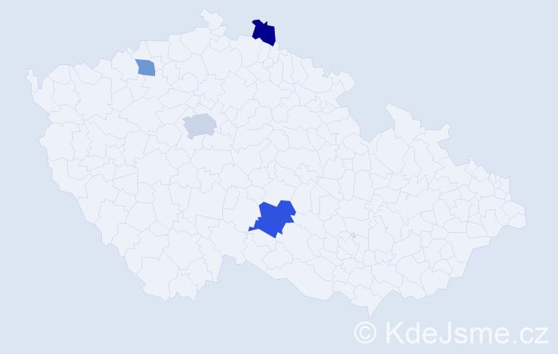 Příjmení: 'Klimsa', počet výskytů 6 v celé ČR