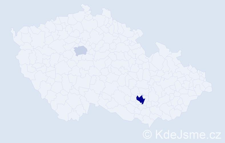 Příjmení: 'Cpin', počet výskytů 5 v celé ČR