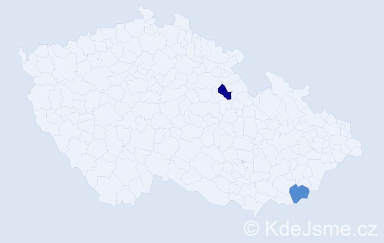 Příjmení: 'Erz', počet výskytů 2 v celé ČR