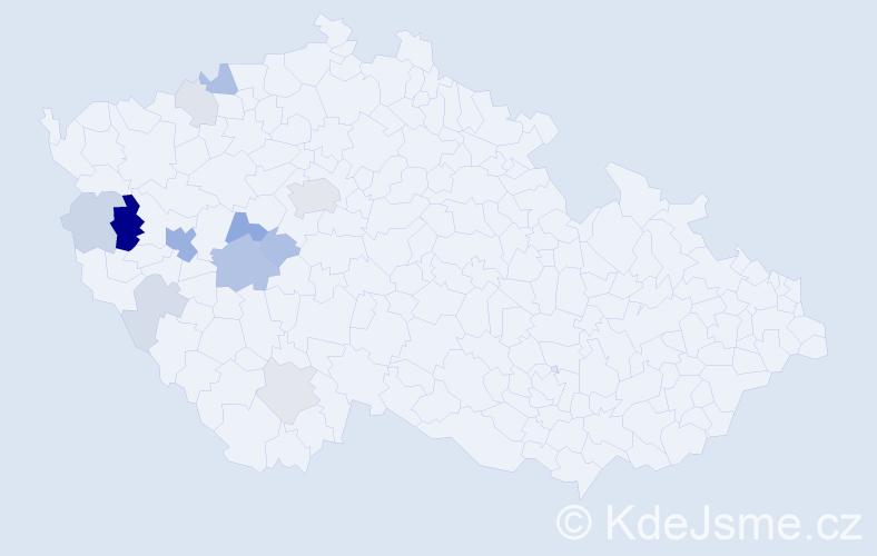 Příjmení: 'Kaprhálová', počet výskytů 33 v celé ČR