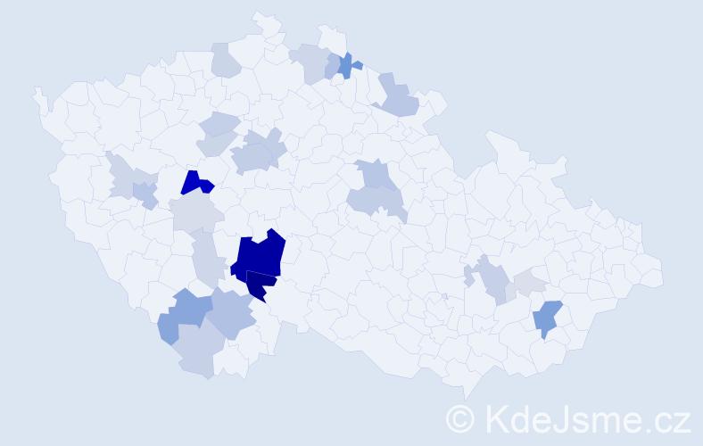Příjmení: 'Bakule', počet výskytů 93 v celé ČR