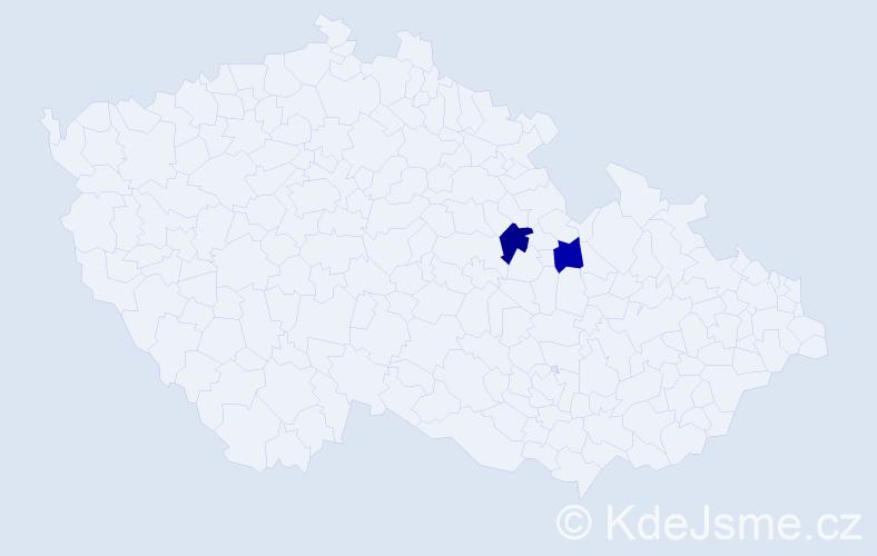 Příjmení: 'Braiková', počet výskytů 5 v celé ČR