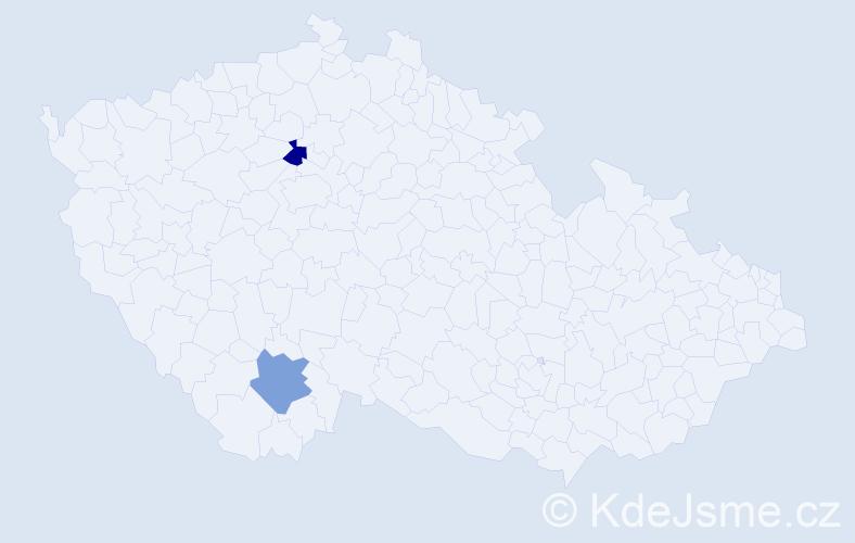 Příjmení: 'Danóczy', počet výskytů 2 v celé ČR