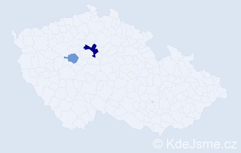 Příjmení: 'Fáriková', počet výskytů 5 v celé ČR