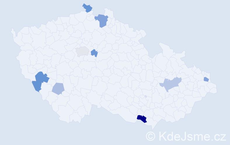 Příjmení: 'Dědík', počet výskytů 22 v celé ČR