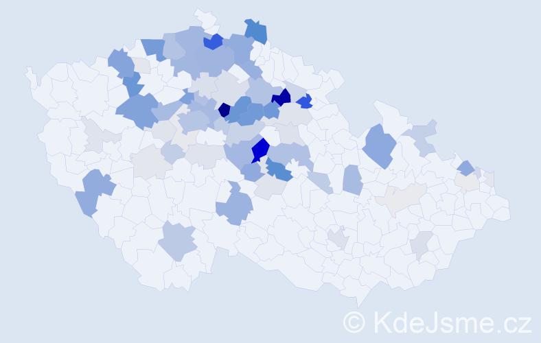 Příjmení: 'Kodeš', počet výskytů 279 v celé ČR