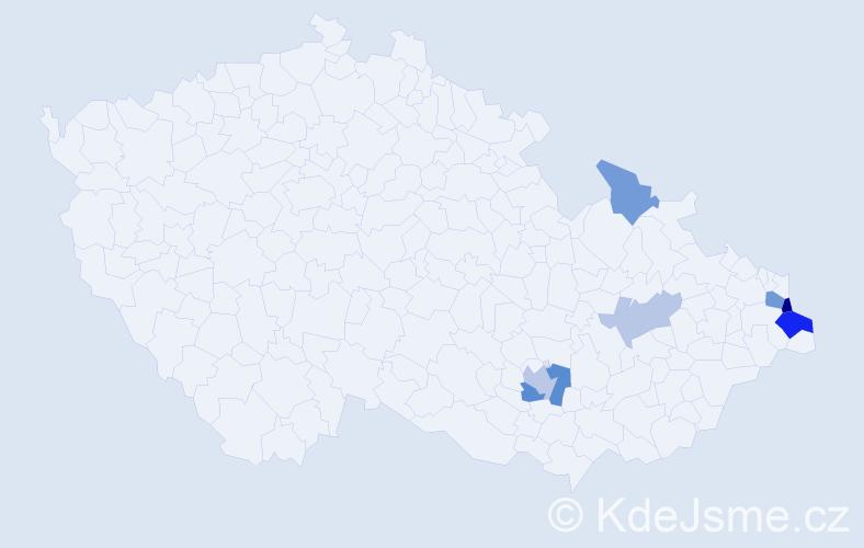 Příjmení: 'Ciupková', počet výskytů 13 v celé ČR