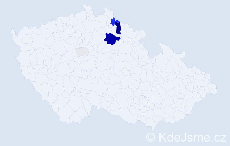 Příjmení: 'Cardalová', počet výskytů 13 v celé ČR