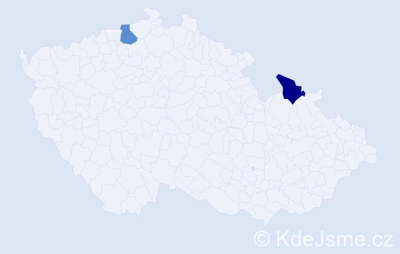 Příjmení: 'Fašiangová', počet výskytů 2 v celé ČR
