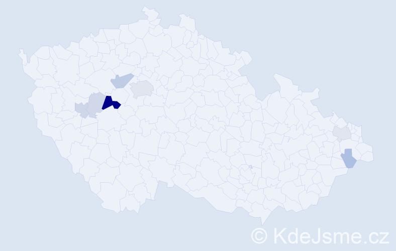 Příjmení: 'Eška', počet výskytů 26 v celé ČR