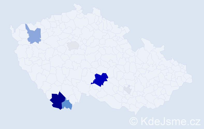 Příjmení: 'Hableová', počet výskytů 20 v celé ČR