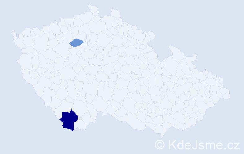 Příjmení: 'Kozela', počet výskytů 12 v celé ČR