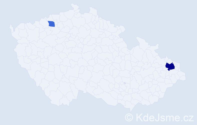 Příjmení: 'Ištaneková', počet výskytů 12 v celé ČR