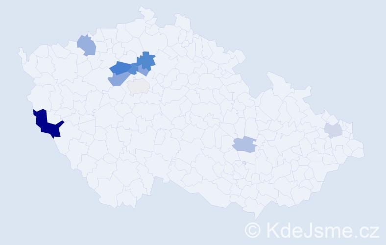 Příjmení: 'Judák', počet výskytů 24 v celé ČR