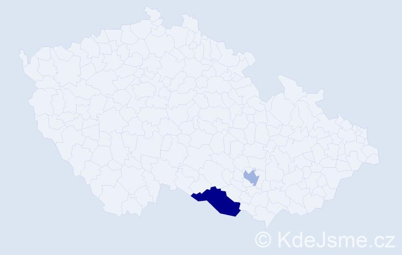 Příjmení: 'Landšperská', počet výskytů 3 v celé ČR