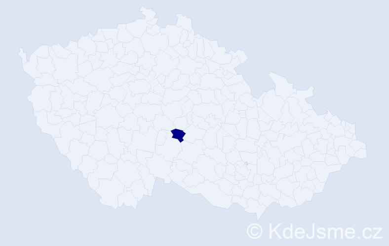 """Příjmení: '""""Casadio Nováková""""', počet výskytů 1 v celé ČR"""