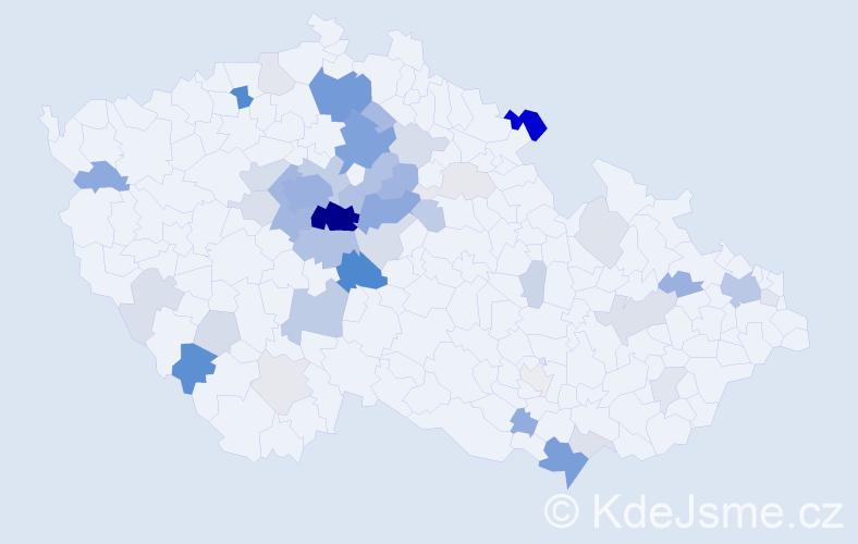 Příjmení: 'Čadil', počet výskytů 172 v celé ČR