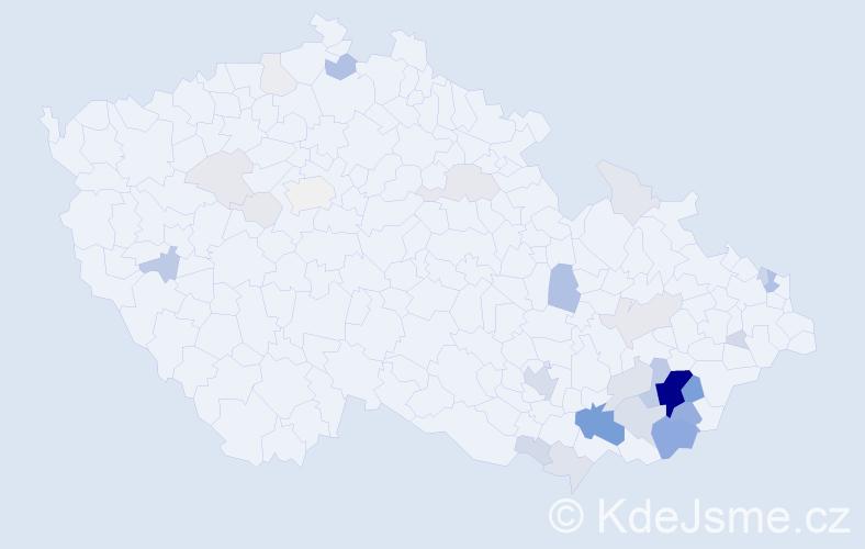 Příjmení: 'Balajková', počet výskytů 148 v celé ČR