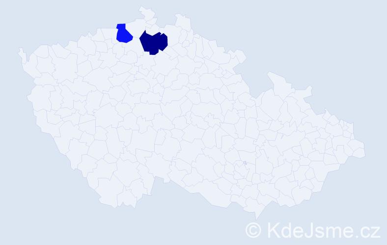 Příjmení: 'Kurtynecová', počet výskytů 2 v celé ČR