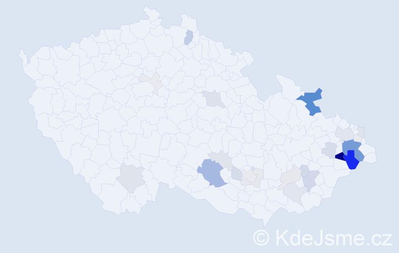 Příjmení: 'Čajánek', počet výskytů 103 v celé ČR