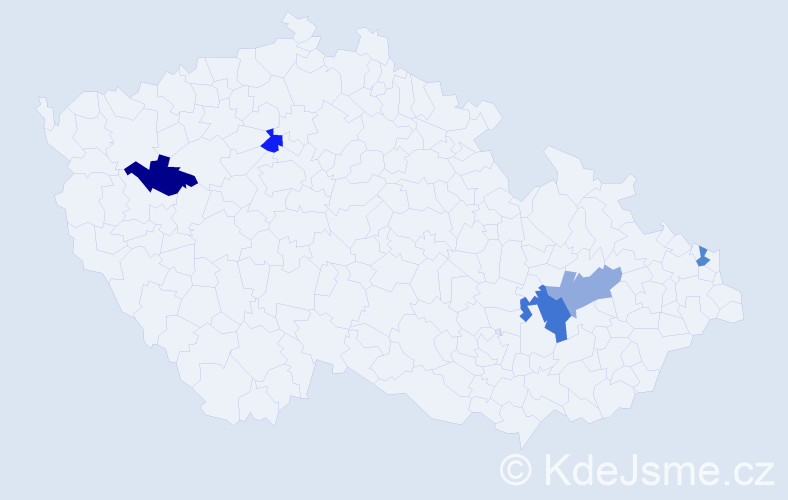 Příjmení: 'Hettychová', počet výskytů 6 v celé ČR
