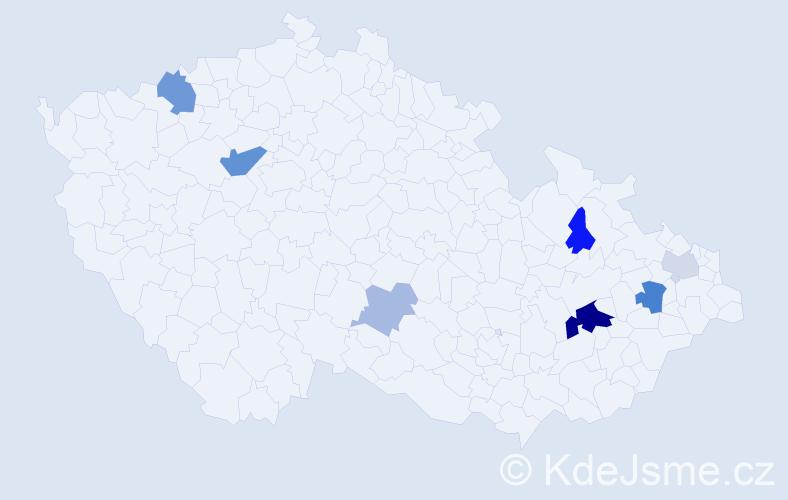 Příjmení: 'Dávidík', počet výskytů 16 v celé ČR