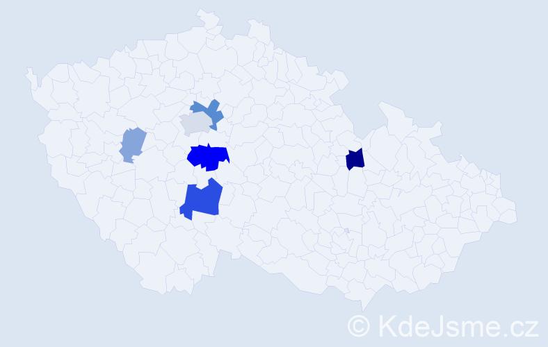 Příjmení: 'Hubinová', počet výskytů 17 v celé ČR