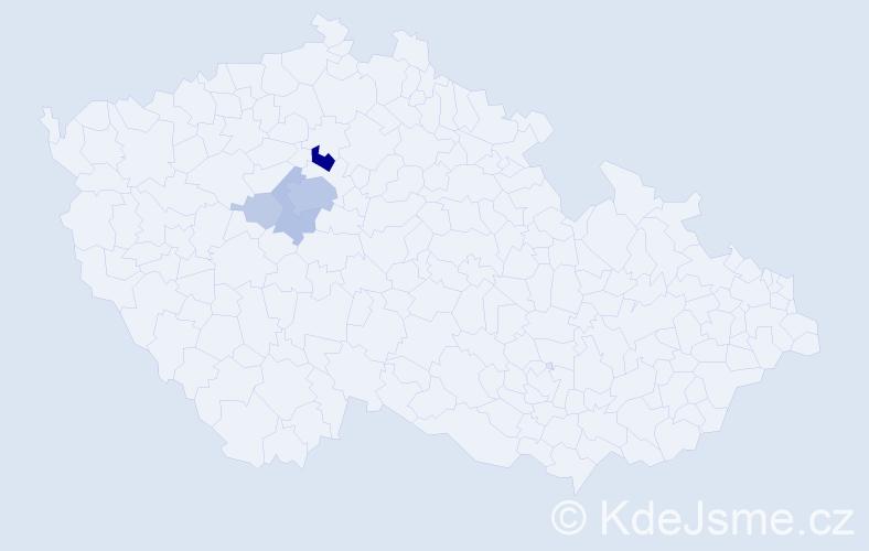 Příjmení: 'Čumrdová', počet výskytů 21 v celé ČR