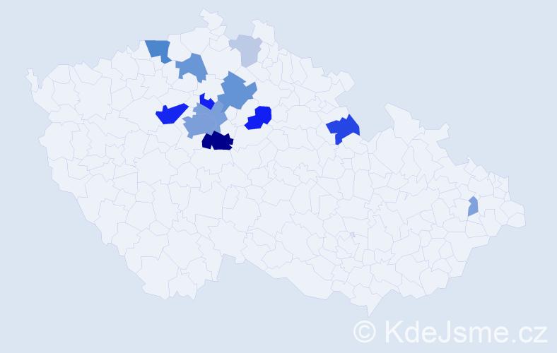 Příjmení: 'Lada', počet výskytů 47 v celé ČR