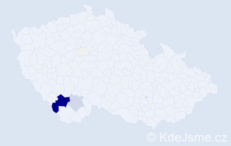 Příjmení: 'Hlouška', počet výskytů 18 v celé ČR