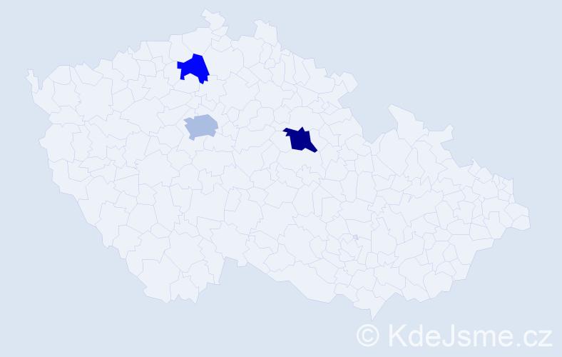 Příjmení: 'Bachnová', počet výskytů 5 v celé ČR