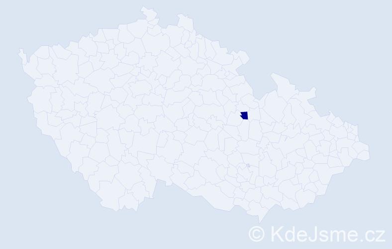 """Příjmení: '""""Kubánek Dalecká""""', počet výskytů 1 v celé ČR"""