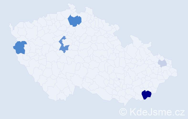 Příjmení: 'Kniš', počet výskytů 9 v celé ČR
