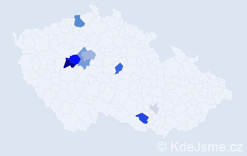 Příjmení: 'Bazíková', počet výskytů 21 v celé ČR