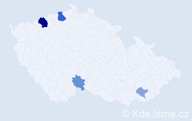 Příjmení: 'Áron', počet výskytů 9 v celé ČR