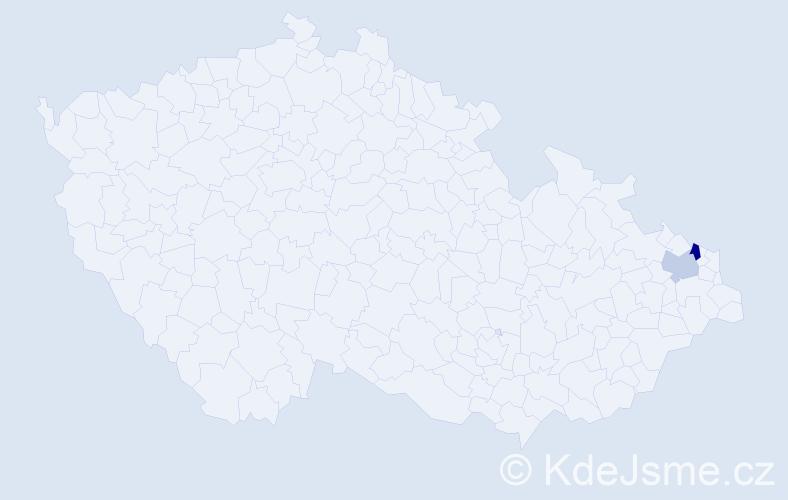 Příjmení: 'Česlavský', počet výskytů 5 v celé ČR