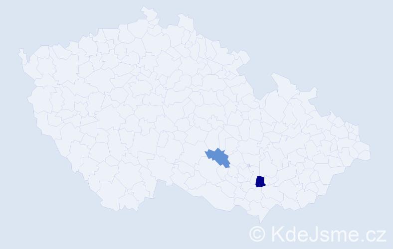 Příjmení: 'Dúpal', počet výskytů 5 v celé ČR