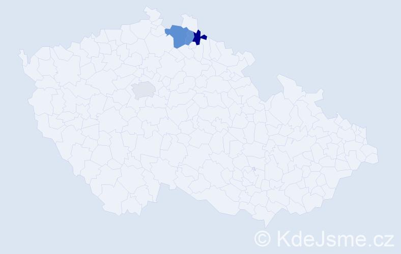 Příjmení: 'Bereckeiová', počet výskytů 5 v celé ČR