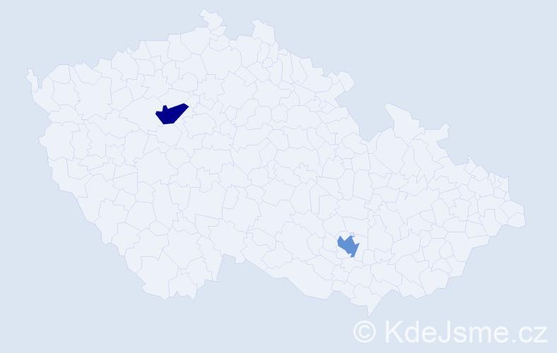 Příjmení: 'Esletzbichlerová', počet výskytů 2 v celé ČR