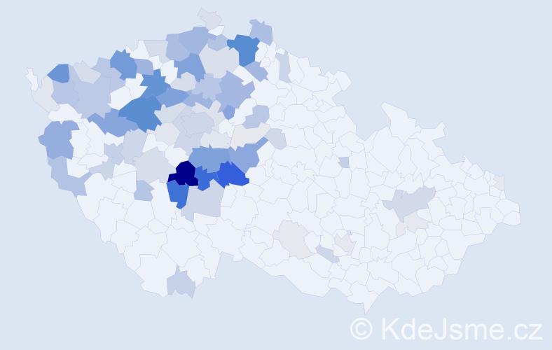 Příjmení: 'Houda', počet výskytů 284 v celé ČR