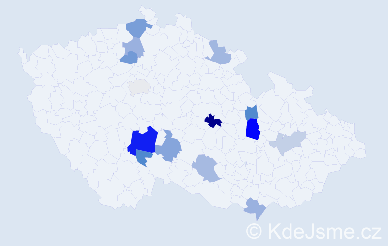Příjmení: 'Čabáková', počet výskytů 21 v celé ČR