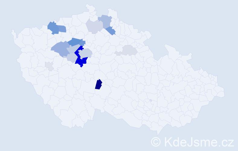 Příjmení: 'Kapalín', počet výskytů 56 v celé ČR