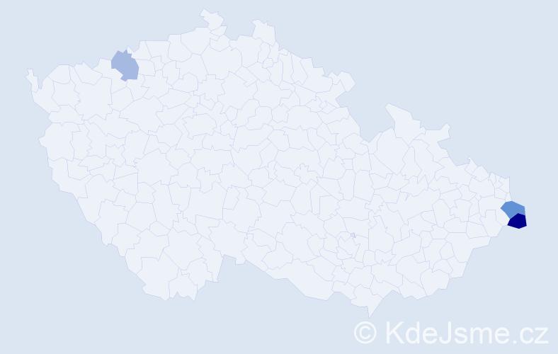 Příjmení: 'Delinová', počet výskytů 5 v celé ČR