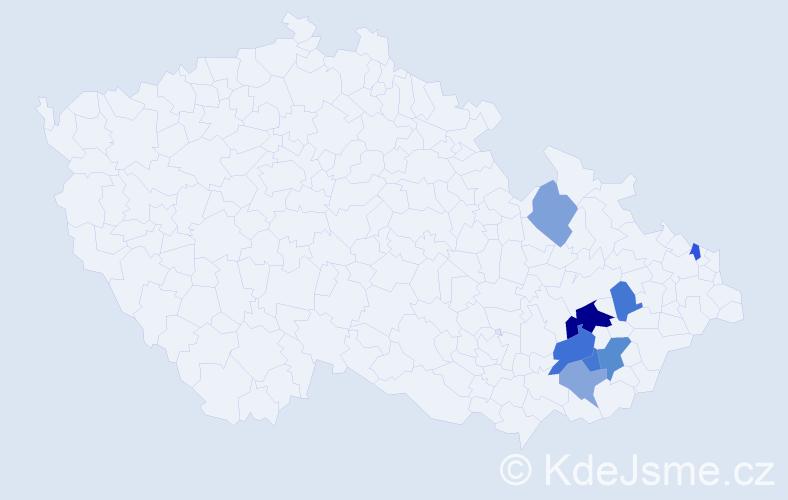 Příjmení: 'Abšnajdrová', počet výskytů 13 v celé ČR