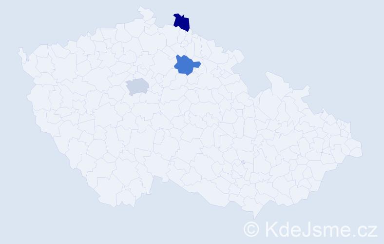 Příjmení: 'Balcárová', počet výskytů 4 v celé ČR