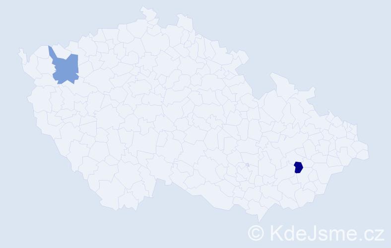 Příjmení: 'Cuperjak', počet výskytů 2 v celé ČR