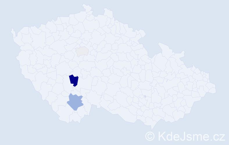 Příjmení: 'Hanketa', počet výskytů 5 v celé ČR