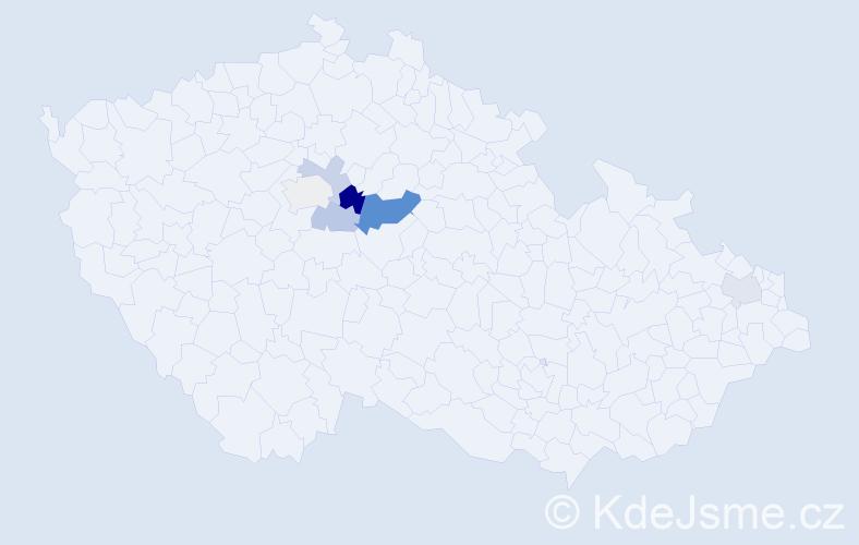 Příjmení: 'Češner', počet výskytů 12 v celé ČR