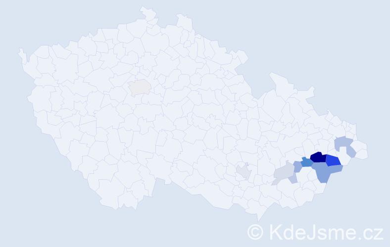 Příjmení: 'Kuběja', počet výskytů 33 v celé ČR